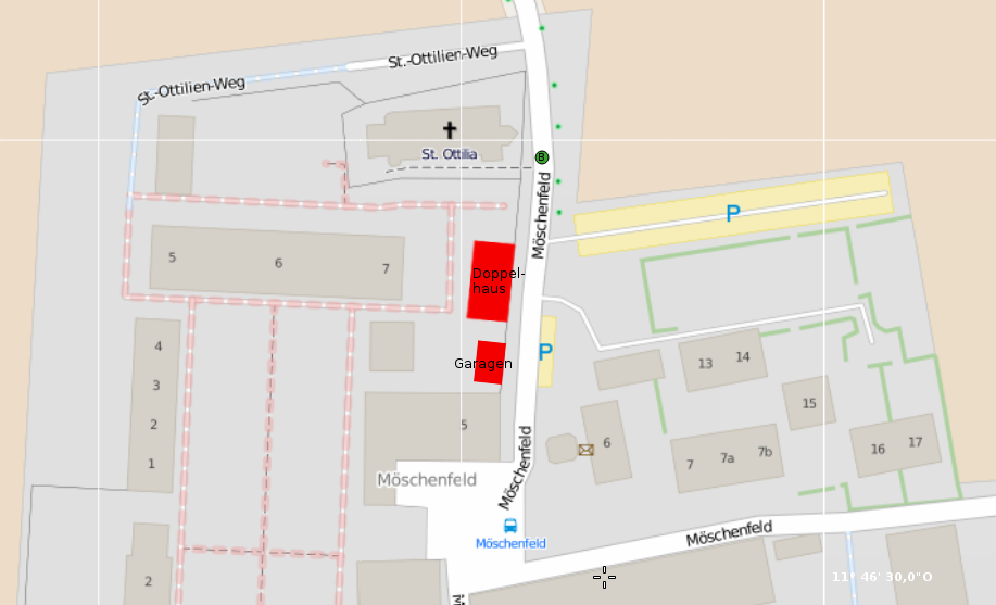 Karte: OSM / Planung in Rot